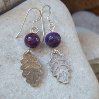 leaf earrings with purple lepidolite stones