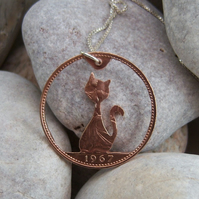 Cat pendant in recycled bronze coin (C2)