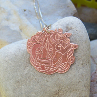 Capricorn goat copper pendant
