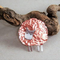 Sheep brooch in copper and sterling silver