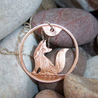 Fox Pendant recycled from bronze penny coin