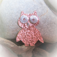 Owl brooch in copper and sterling silver