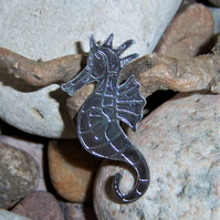 Seahorse brooch in etched pewter