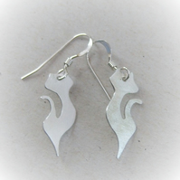 Cat earrings in sterling silver