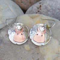 Sheep earrings in sterling silver and copper