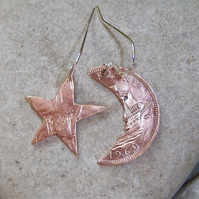 Moon & Star earrings from old bronze coins