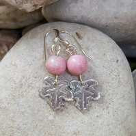Leaf earrings with pink semi precious stones