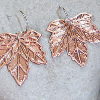Leaf earrings in etched copper
