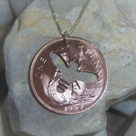 Bee pendant  from recycled penny coin