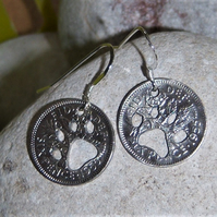 Recycled Sixpence earrings with paw cut-outs