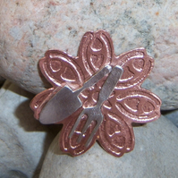 Gardeners brooch in sterling silver and copper