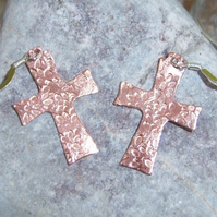 Cross Earrings in Copper