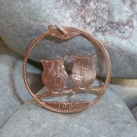 Owl pendant made from penny coin