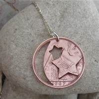 Penny moon & stars pendant in recycled penny coin