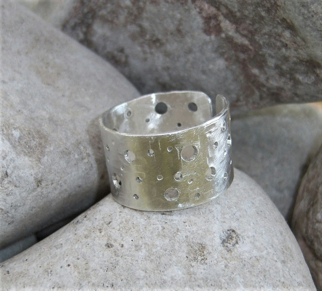 Adjustable wide sterling silver ring