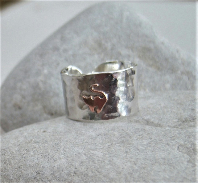 Cat ring in sterling silver and copper