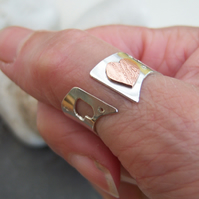 Heart gap ring in sterling silver and copper