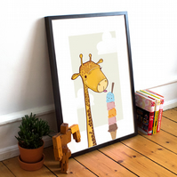 "8"" x10"" Giclee Print - Giraffe and ice-cream"