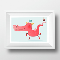 "5""x7"" Giclee Print - Party Dragon"