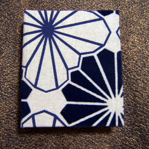 handmade notebook- flocked design blue
