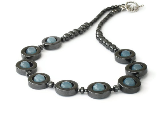 Aquamarine and hematite necklace