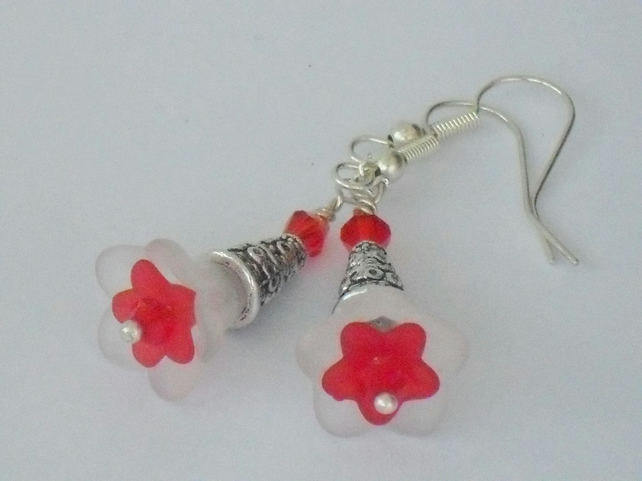 SALE: Red and white flower earrings