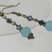 SALE: Blue aquamarine and jet crystal earrings