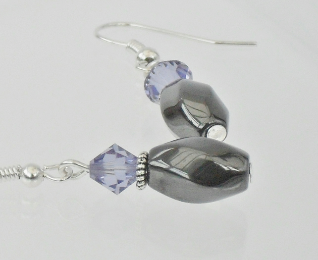 SALE: Hematite and lilac crystal earrings, made with Swarovski® elements