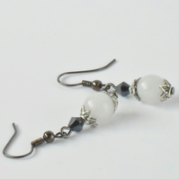 White jade and jet black crystal earrings