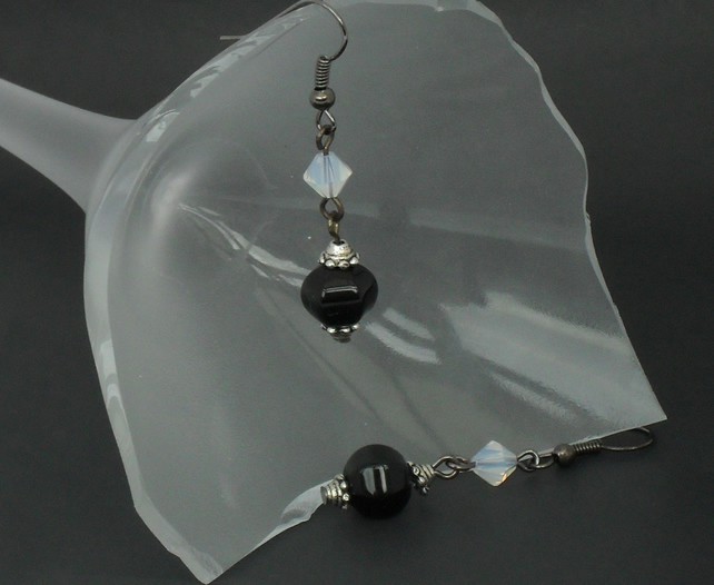 SALE: Black & white monochrome earrings - onyx with crystal by Swarovski®