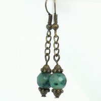 Green emerald & bronze earrings
