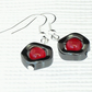 Red jade and hematite earrings
