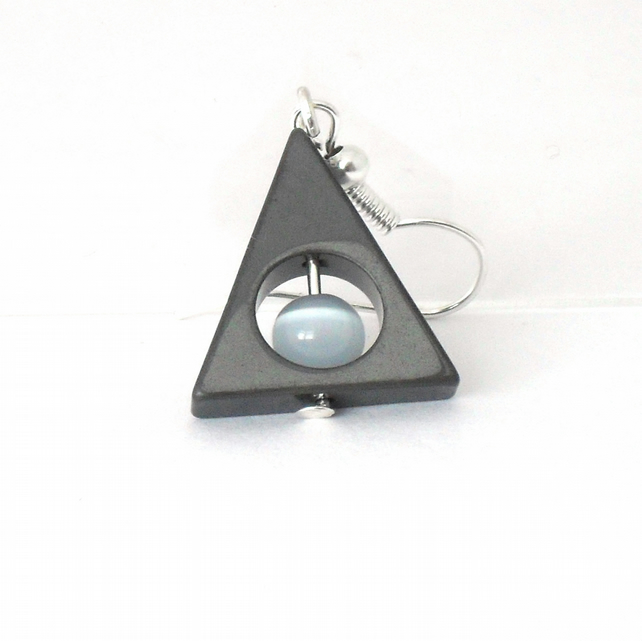 Triangular hematite and blue-grey cat's eye earrings