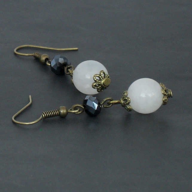 SALE: White jade & jet crystal bronze earrings