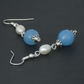 CELEBRATION HALF PRICE OFFER: Faceted blue quartz & ivory pearl earrings