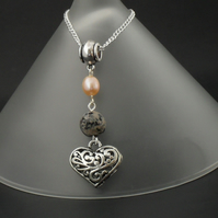 Peach pearl & brown fire agate heart charm necklace