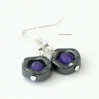 Hematite & purple alexandrite earrings