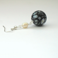 SALE: White pearl and black & white shell earrings