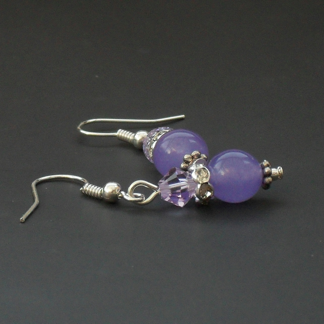 SALE: Lavender gemstone and crystal earrings, & swarovski elements