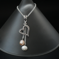 Peach & ivory pearl heart charm necklace