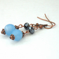 Blue aquamarine and jet crystal handmade copper earrings