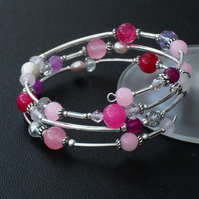 Pink & lilac gemstone and pearl handmade memory wire bracelet