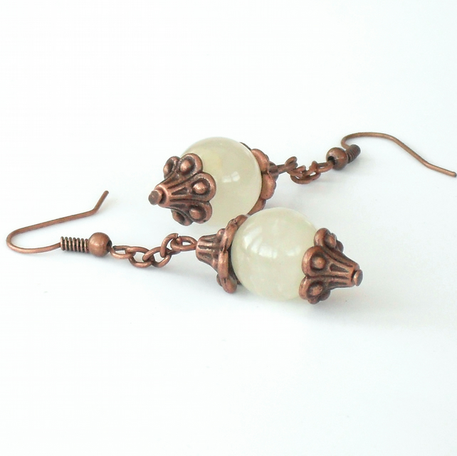 Milky white agate and copper handmade earrings