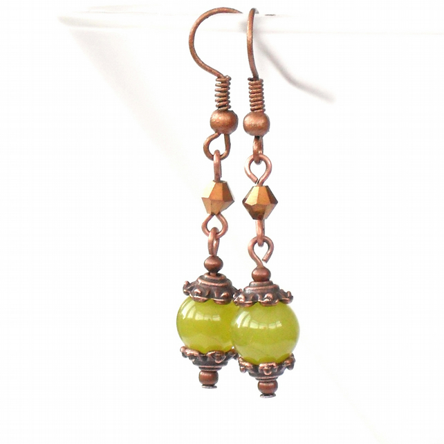 Handmade olive green peridot and copper crystal earrings