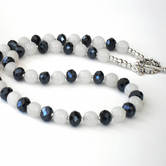 SALE: White jade and jet crystal handmade necklace