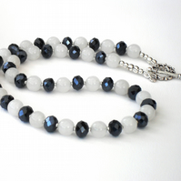 White jade and jet crystal handmade necklace