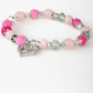 Pink gemstone and crystal handmade bracelet