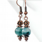 Teal green jade and copper handmade earrings