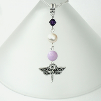 SALE: Pearl and dragonfly charm necklace