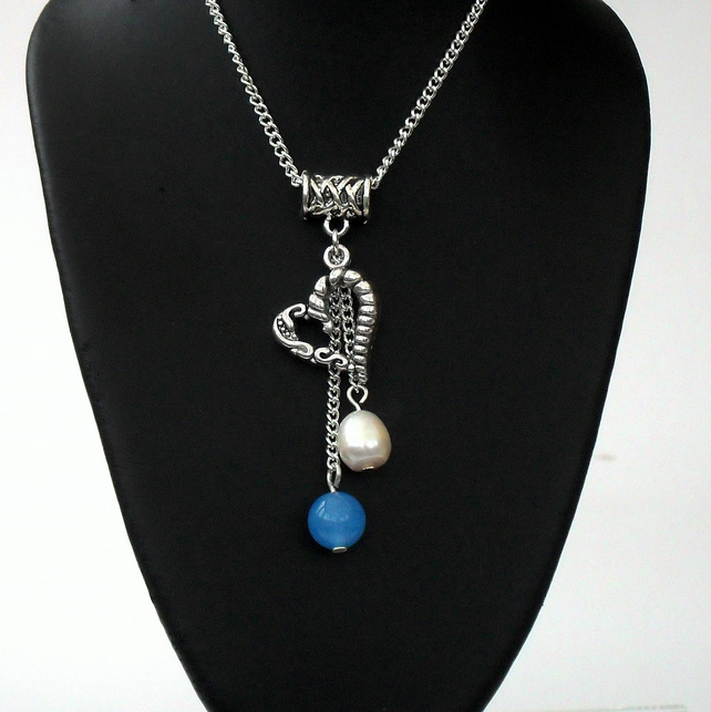 SALE: Jade & pearl charm necklace